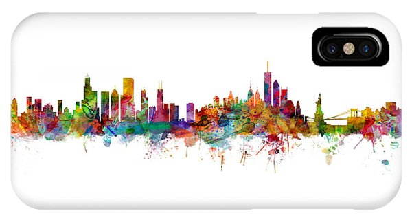 Chicago Skyline iPhone Case - Chicago And New York City Skylines Mashup by Michael Tompsett