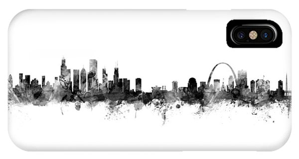 Chicago Skyline iPhone Case - Chicago And St Louis Skyline Mashup by Michael Tompsett