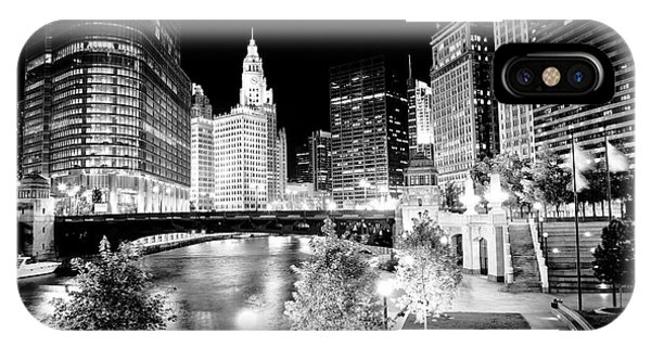 Chicago River Buildings At Night IPhone Case