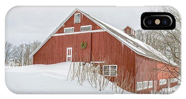 New England Barn iPhone Case - Christmas Barn by Edward Fielding