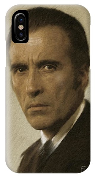 Dracula iPhone Case - Christopher Lee, Vintage Actor by Mary Bassett