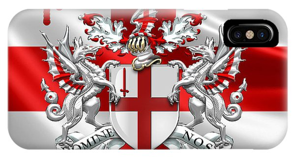 London iPhone Case - City Of London - Coat Of Arms Over Flag  by Serge Averbukh