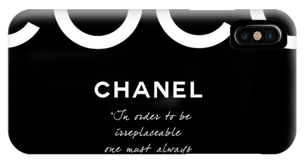 Glamour iPhone Case - Coco Chanel Irreplaceable Quote by Tres Chic