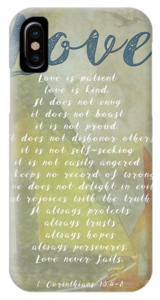 1 Corinthians 13 4-8 Love Is Patient Love Is Kind Wedding Verses. Great Gift For Men Or Home Decor. IPhone Case