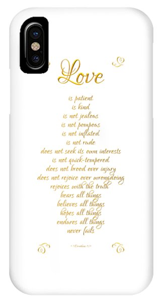 1 Corinthians 13 Love Is White Background IPhone Case