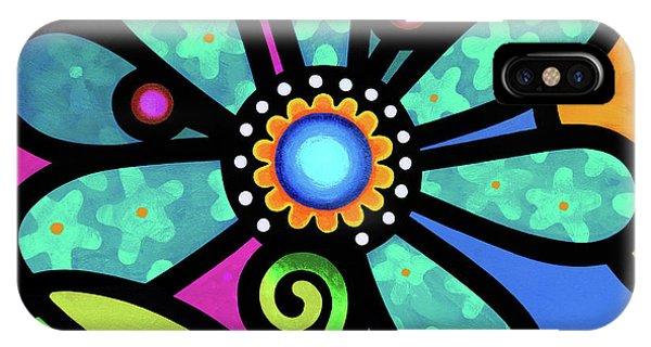 Cosmic Daisy In Aqua IPhone Case