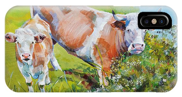 Cow And Calf Painting IPhone Case