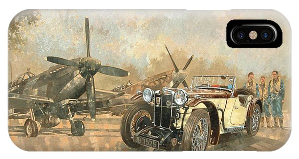 Car iPhone X Case - Cream Cracker Mg 4 Spitfires  by Peter Miller