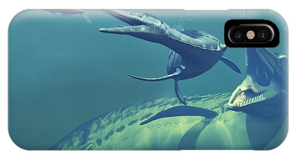 Cretaceous Marine Predators, Artwork Phone Case by Walter Myers