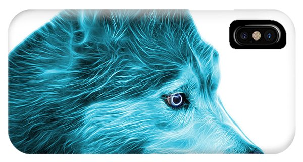 IPhone Case featuring the painting Cyan Siberian Husky Art - 6048 - Wb by James Ahn