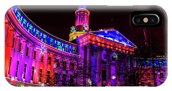 Denver City And County Building Holiday Lights IPhone Case