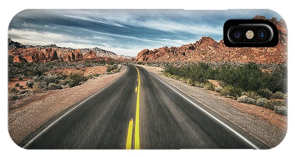 Valley Of Fire iPhone Case - Desert Highway by Robert Fawcett