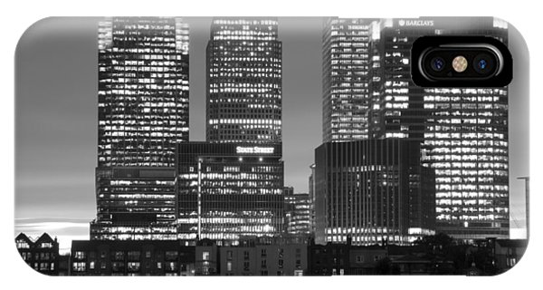 Docklands Canary Wharf Sunset Bw IPhone Case