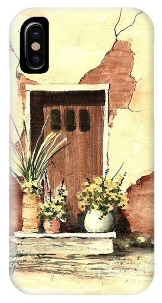 IPhone Case featuring the painting Door With Pots by Sam Sidders