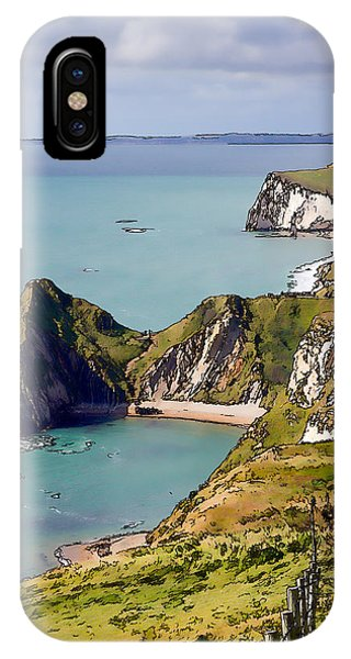 Dorset iPhone Case - Dorset Coast View Towards Durdle Door From South West Coast Path Unique Illustration Like Cartoon  by Michael Charles