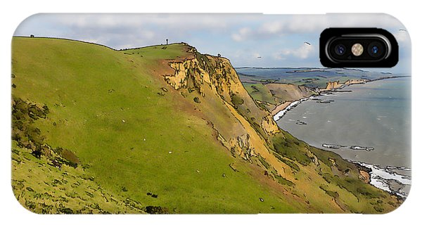 Dorset iPhone Case - Dorset Coast View Towards West Bay And Chesil Beach England Uk Illustration Like Cartoon by Michael Charles