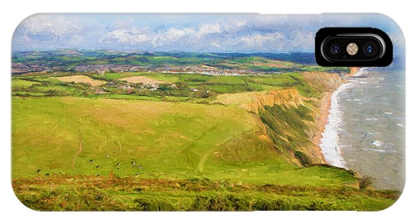 Dorset iPhone Case - Dorset Coast View Towards West Bay And Chesil Beach England Uk Illustration Like Oil Painting by Michael Charles