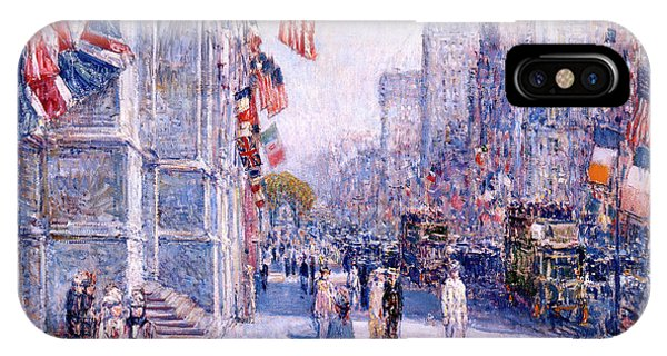 Avenue iPhone Case - Early Morning On The Avenue In May 1917 by Childe Hassam