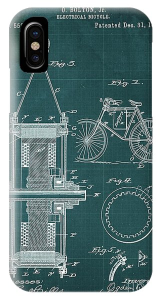 1895 iPhone Case - Electrical Bycicle Patent 1895 by Drawspots Illustrations
