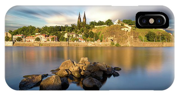 Famous Vysehrad Church During Sunny Day. Amazing Cloudy Sky In Motion. Vltava River, Prague, Czech Republic IPhone Case