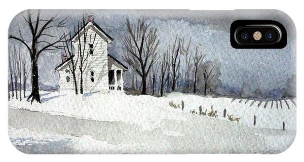 Farmhouse In Winter IPhone Case