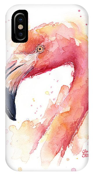 Bird Watercolor iPhone Case - Flamingo Watercolor  by Olga Shvartsur
