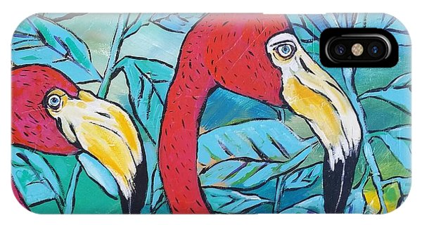 iPhone Case - Flamingos  by Arrin Burgand