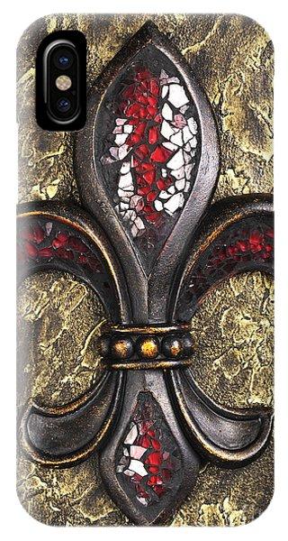 iPhone Case - red mosaic Fleur-di-lis by Tony Cordoza