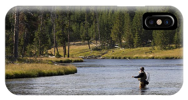 Yellowstone National Park iPhone Case - Fly Fishing In The Firehole River Yellowstone by Dustin K Ryan