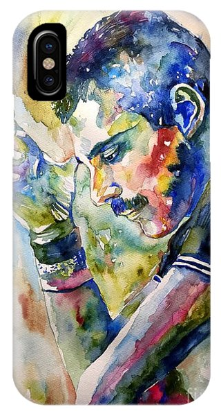 Sunny iPhone Case - Freddie Mercury Watercolor by Suzann Sines