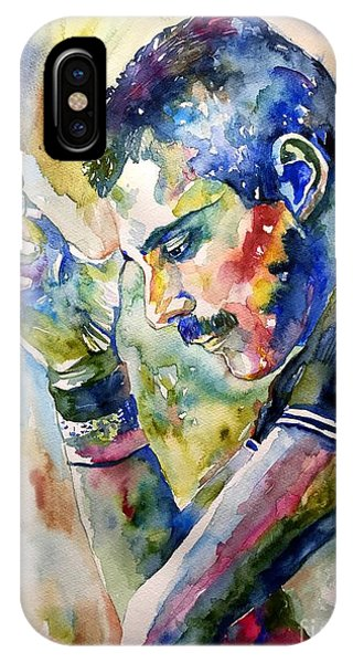 Modern iPhone Case - Freddie Mercury Watercolor by Suzann Sines
