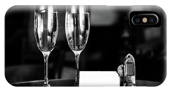 Full Champagne Glasses, Antique Keys And Blank White Card. Luxury Hotel Apartment IPhone Case