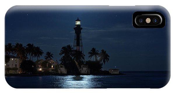 Full Moon Over Hillsboro Lighthouse In Pompano Beach Florida IPhone Case