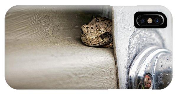 IPhone Case featuring the photograph Garage Door Tree Frog by Lars Lentz