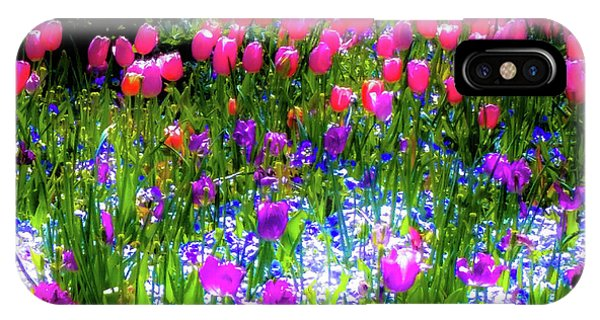 Garden Flowers With Tulips IPhone Case