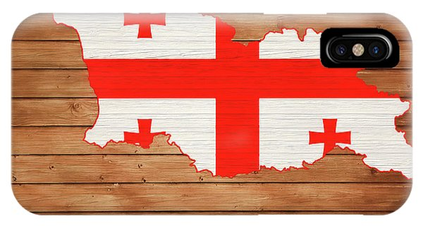 Traveler iPhone Case - Georgia Rustic Map On Wood by Dan Sproul