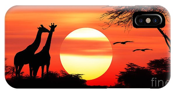Giraffes At Sunset IPhone Case