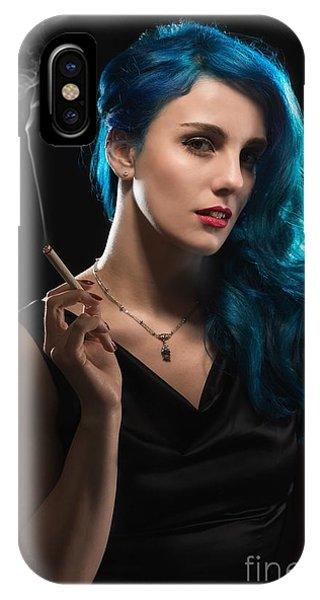 Glamorous Woman Smoking IPhone Case