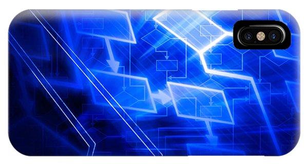 Glowing Blue Flowchart IPhone Case