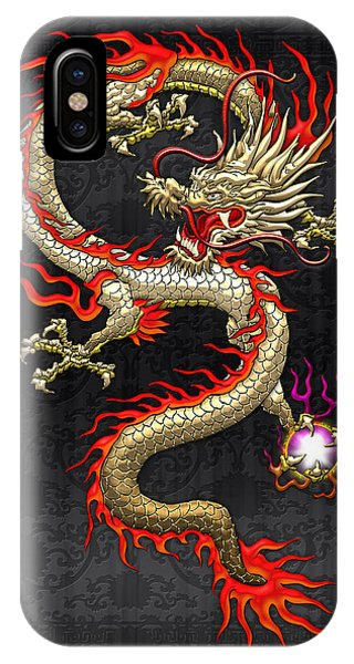 Fantasy iPhone Case - Golden Chinese Dragon Fucanglong  by Serge Averbukh