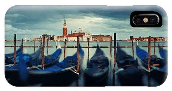 IPhone Case featuring the photograph Gondola And San Giorgio Maggiore Island Panorama by Songquan Deng