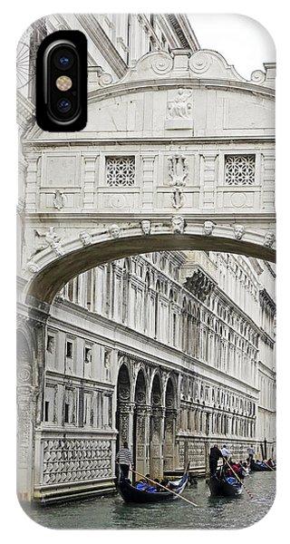 Gondolas Going Under The Bridge Of Sighs In Venice Italy IPhone Case