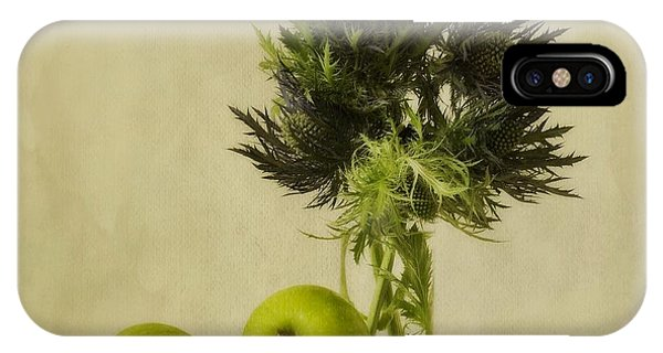 Life iPhone Case - Green Apples And Blue Thistles by Priska Wettstein