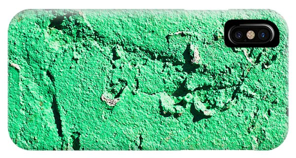 Stone Wall iPhone Case - Green Background by Tom Gowanlock