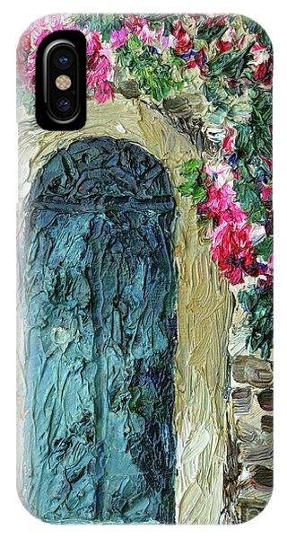 Green Italian Door With Flowers IPhone Case
