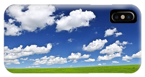 Cloud iPhone Case - Green Rolling Hills Under Blue Sky by Elena Elisseeva
