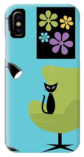 Groovy Flowers In Blue IPhone Case