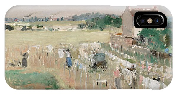 French Painter iPhone Case - Hanging The Laundry Out To Dry by Berthe Morisot