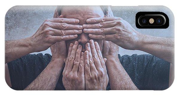 Hand iPhone Case - Hear, See, Speak by Scott Norris