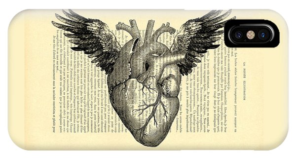 Anatomy iPhone Case - Heart With Wings by Madame Memento